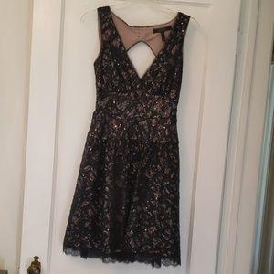 Black lace sequin cocktail dress